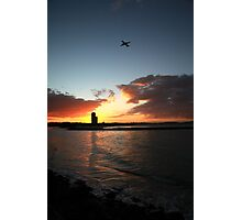 Currumbin Sunset With Jet Liner Photographic Print