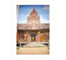 Monks at  Phnom Rung Khmer temple, Thailand Art Print