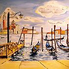 Venice Gondolas Oil Painting  by Caroline  Hajjar Duggan