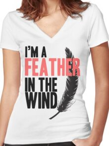I'm A Feather In The Wind Women's Fitted V-Neck T-Shirt