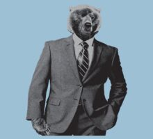 winking bear in a suit by cadaver138