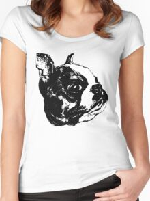 """""""Garbo"""" Boston Terrier Graphic ~ black and white Women's Fitted Scoop T-Shirt"""