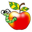 funny apple worm by CuteCartoon