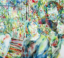 THE PINK FLOYD at the PARK - watercolor portrait by lautir