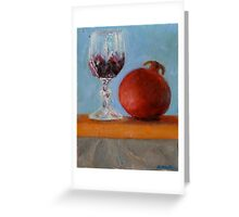 pomegranate and glass of red wine on a book Greeting Card