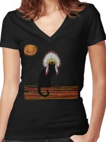 little Indian chief kitty cat  Women's Fitted V-Neck T-Shirt