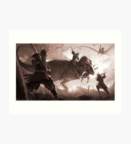 T. rex vs. Samurai Art Print