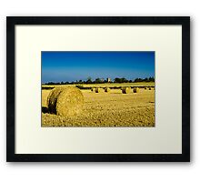 Cylindrical Hay Bales England Framed Print