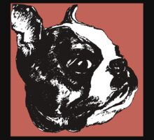 """Garbo"" Boston Terrier Graphic ~ black, white, red One Piece - Short Sleeve"