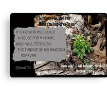 The House of God ~ 2 Samuel 7:13 Canvas Print