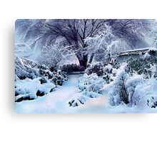 on a freshly fallen silent shroud of snow Canvas Print