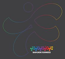 Bangkok Runners | iPad case, gray, outline by Lin Da