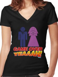Game Over Yeeaaahhh! Marriage Women's Fitted V-Neck T-Shirt