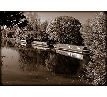 Moored Canal Boats England Photographic Print