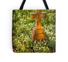 Gravestone with Snowdrops Tote Bag