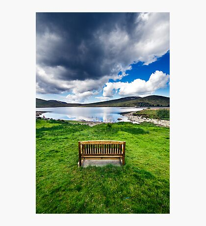 Bench in Mourne Mountains Photographic Print