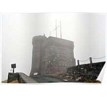 Cabot Tower in the fog, Newfoundland. Poster