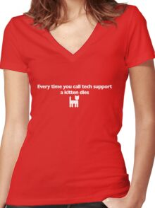 Every time you call tech support a kitten dies Women's Fitted V-Neck T-Shirt