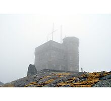 Cabot Tower in the fog, Newfoundland. Photographic Print