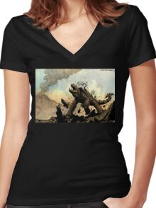 OLD MIGHTY MOUNTAINBACK - Earth Beasts Awaken creature art Women's Fitted V-Neck T-Shirt
