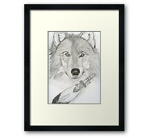 Wolf and Feather Framed Print