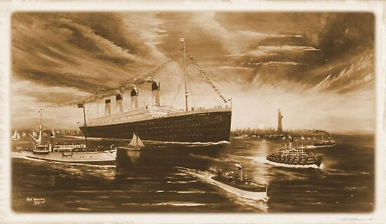 Titanic in NY in Sepia by Woodie