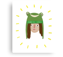 Self Portrait in Frog Hat Canvas Print
