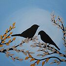 birds on branches- blue, white, gold, silver and black by cathyjacobs