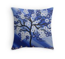 blue tree art with circles Throw Pillow