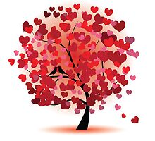 Red Hearts Tree by SandraWidner