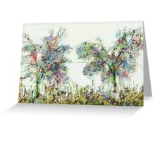 Colorful winter scene Greeting Card