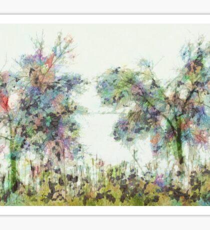 Colorful winter scene Sticker