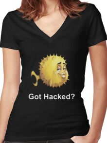 Got Hacked? Women's Fitted V-Neck T-Shirt