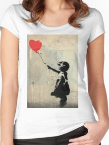 Banksy Red Heart Balloon Women's Fitted Scoop T-Shirt
