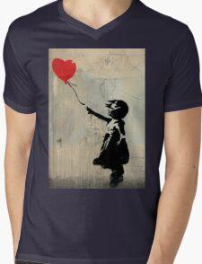 Banksy Red Heart Balloon Mens V-Neck T-Shirt