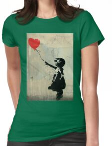 Banksy Red Heart Balloon Womens Fitted T-Shirt