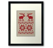 Moose Pattern Christmas Sweater Knit Framed Print