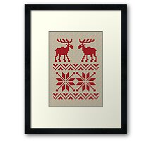Moose Pattern Christmas Sweater Knit Framed Print