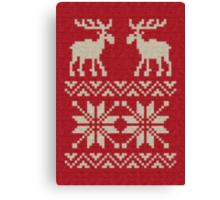 Moose Pattern Christmas Sweater Knit Canvas Print