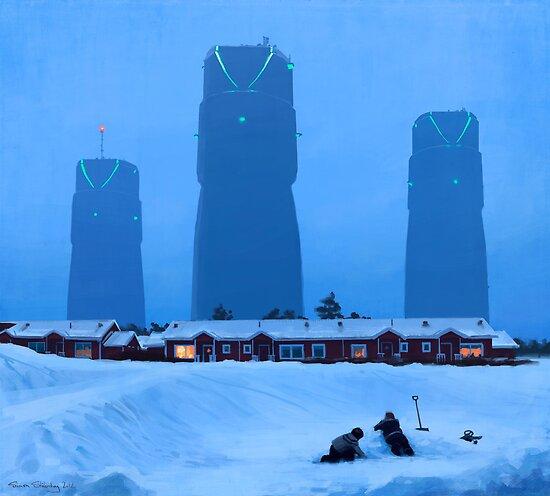 Bonareaktorns Kyltorn by Simon Stålenhag