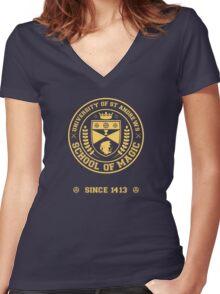 University of St Andrews School of Magic ver 2.0 Women's Fitted V-Neck T-Shirt