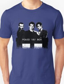 A Multi Doctor Story in Black and White Unisex T-Shirt