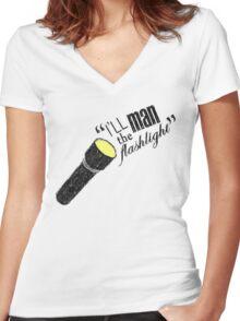 Dean Winchester: Flashlight Wielder Women's Fitted V-Neck T-Shirt