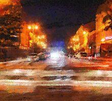 Night city painting by Magomed Magomedagaev