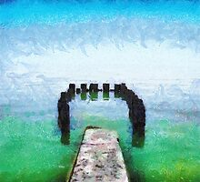 Remains of old pier painting by Magomed Magomedagaev