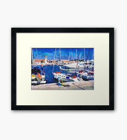 Old Rhodes market view painting Framed Print