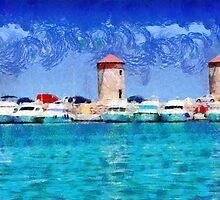 Three old Rhodes windmills painting by Magomed Magomedagaev