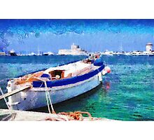 Boat parked in harbor painting Photographic Print