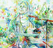 KURT COBAIN playing the GUITAR - watercolor portrait by lautir