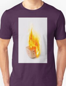 Flaming Sevivon (or Dreidel) a spinning top traditionally played during Chanukah T-Shirt